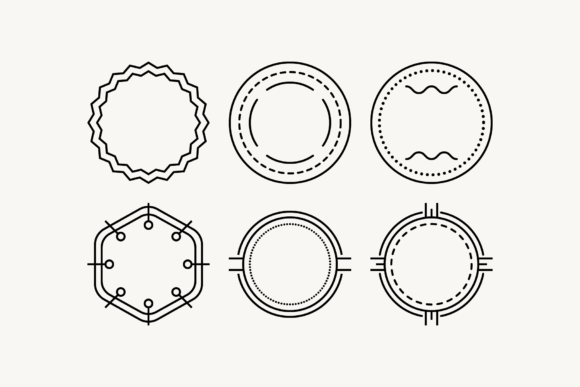 Print on Demand: Outline Minimalistic Clipart SVG Badges Graphic Objects By DTCreativeLab