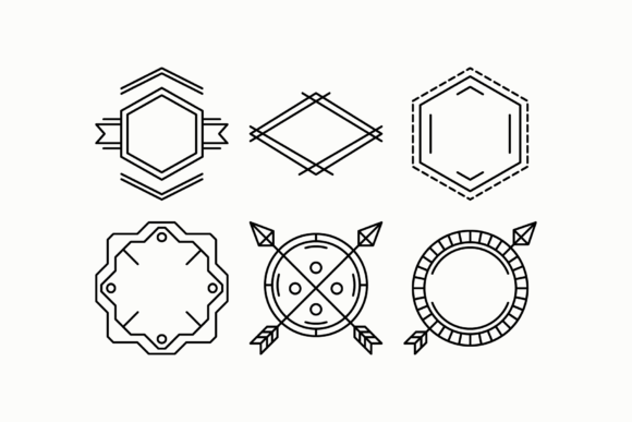 Print on Demand: Outline Minimalistic SVG Clipart Badges Graphic Objects By DTCreativeLab