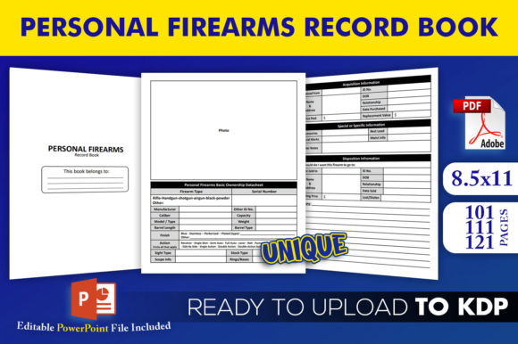Print on Demand: Personal Firearms Record | KDP Interior Graphic KDP Interiors By Beast Designer