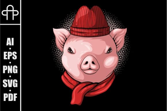 Print on Demand: Pig Head Wear Beanie and Scarf Graphic Illustrations By Andypp