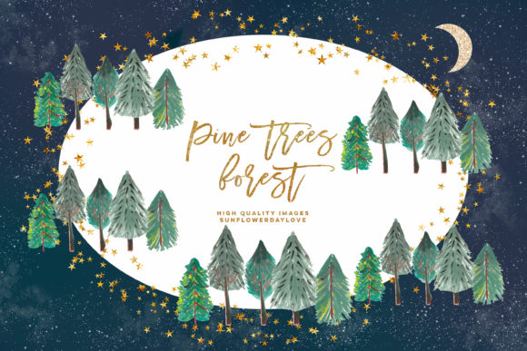 Print on Demand: Pine Trees Watercolor Clipart, Fir Trees Graphic Illustrations By SunflowerLove