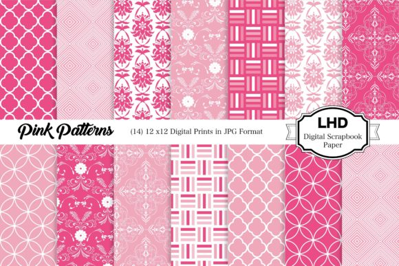Pink Digital Papers Graphic Patterns By LeskaHamatyDesign
