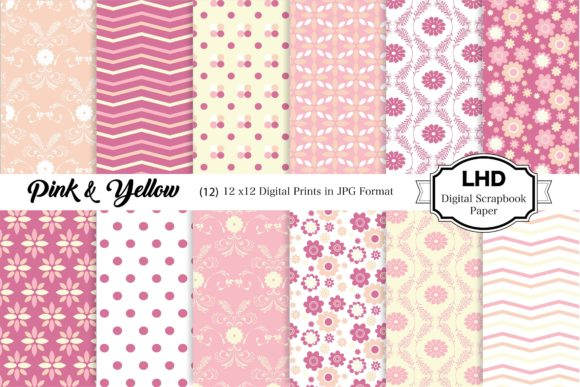 Pink and Yellow Digital Paper Graphic Patterns By LeskaHamatyDesign
