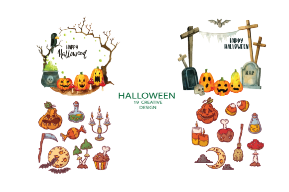 Print on Demand: Pumpkin Crow and Other Halloween Element Graphic Illustrations By BOdesign