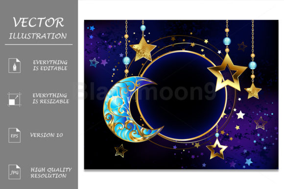 Round Banner with Jewelry Crescent Moon Graphic Illustrations By Blackmoon9