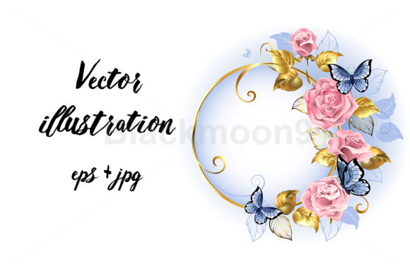 Round Banner with Pink Roses Graphic Illustrations By Blackmoon9