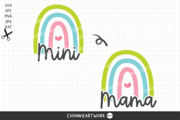 SVG Mama and Mini Rainbow Graphic Print Templates By Chonnieartwork