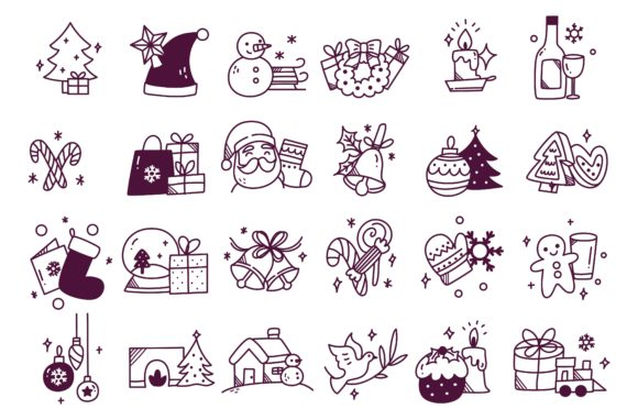 Set of Hand Drawn Christmas Line Icon Graphic Icons By Big Barn Doodles
