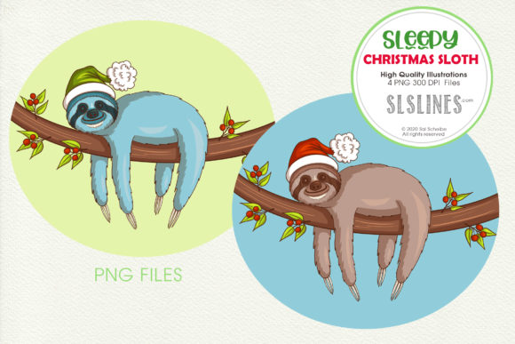 Print on Demand: Sleepy Christmas Sloth on a Branch Graphic Illustrations By SLS Lines