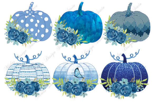 Sublimation - 6 Blue Pumpkin Bandle Graphic Crafts By MidasStudio