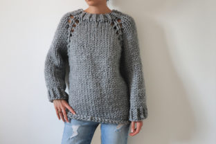 Super Chunky Top Down Raglan Sweater Graphic Knitting Patterns By thesnugglery