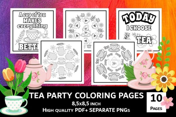 Print on Demand: Tea Time Coloring Pages Graphic Coloring Pages & Books Adults By Fleur de Tango