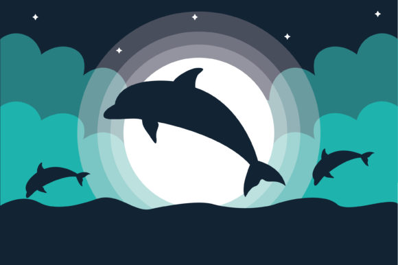 Print on Demand: Vector Silhouette Dolphin Ocean Graphic Illustrations By MAMD