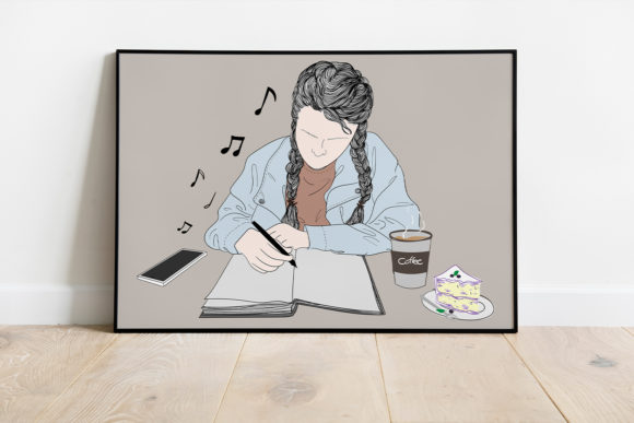 Print on Demand: Wall Art a Girl Sitting in a Diary Graphic Illustrations By Saydung89