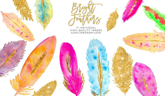 Print on Demand: Watercolor Feathers Clipart Download Graphic Illustrations By SunflowerLove
