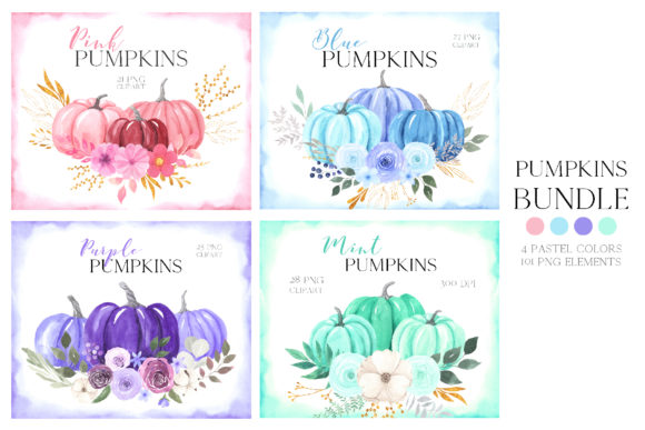 Watercolor Pastel Pumpkins Bundle Graphic Illustrations By Larysa Zabrotskaya