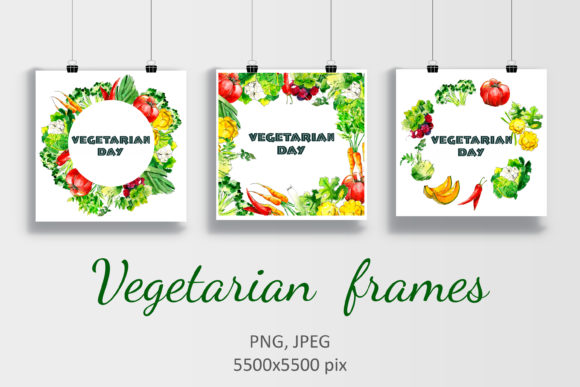 Watercolor Vegetarian Frames Graphic Illustrations By HannaYelsukova