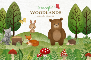 Print on Demand: Woodlands Animal Watercolor Cliparts Graphic Illustrations By vivera