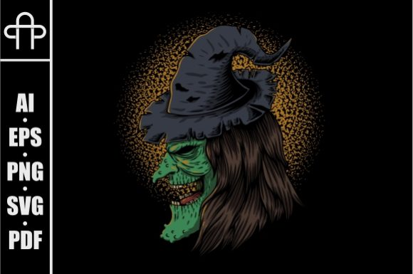 Print on Demand: Witch Hide on Side Vector Illustration Graphic Illustrations By Andypp