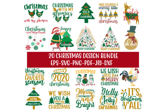 Print on Demand: 20 Christmas Design Bundle Graphic Crafts By Graphics Home.net