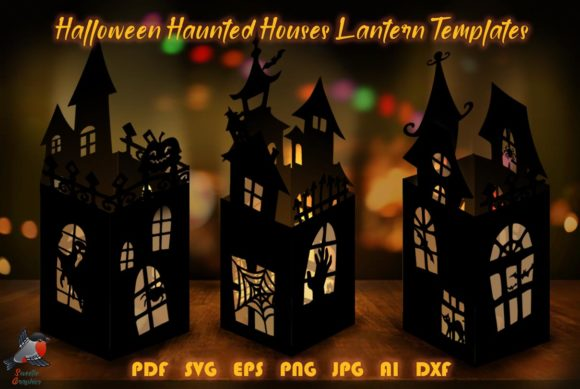 3 Spooky Halloween Lanterns Template SVG Graphic 3D SVG By SweetieGraphics
