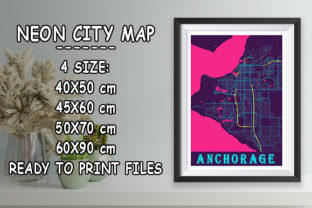 Print on Demand: Anchorage - United States Neon City Map Graphic Photos By tienstencil