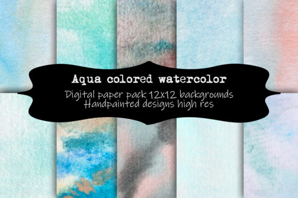 Print on Demand: Aqua Colored Watercolor Digital Paper Graphic Backgrounds By A Design in Time