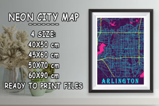 Print on Demand: Arlington - United States Neon City Map Graphic Photos By tienstencil