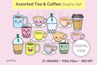 Assorted Tea and Coffee Clip Art Set Graphic Illustrations By Dreamesaya