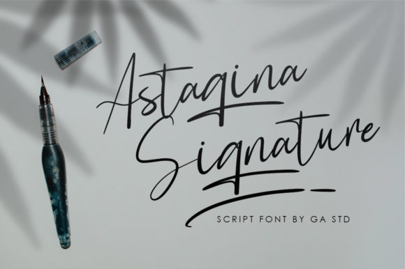 Print on Demand: Astagina Signature Script & Handwritten Font By Green Adventure Studio