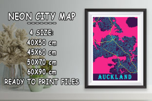 Print on Demand: Auckland - New Zealand Neon City Map Graphic Photos By tienstencil