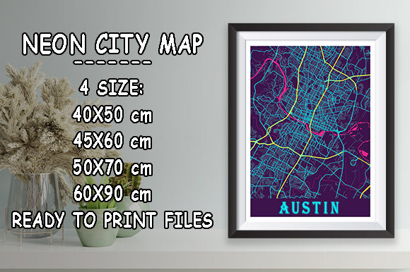 Print on Demand: Austin - Texas Neon City Map Graphic Photos By tienstencil