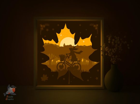 Autumn Rabbit Ride Bycicle Light Box SVG Graphic 3D Shadow Box By SweetieGraphics