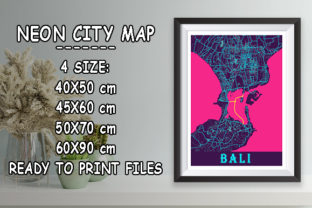 Print on Demand: Bali - Indonesia Neon City Map Graphic Photos By tienstencil