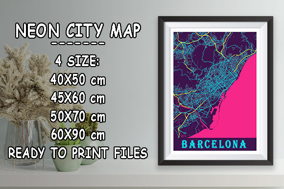 Print on Demand: Barcelona - Spain Neon City Map Graphic Photos By tienstencil