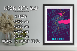 Print on Demand: Barrie - Canada Neon City Map Graphic Photos By tienstencil