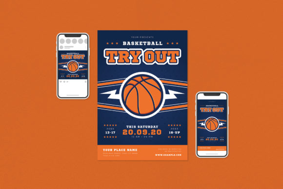Basketball Try out Flyer Set Graphic Print Templates By ihsanshihab.design