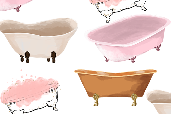 Print on Demand: Bathtub Watercolor Illustration Clipart Graphic Illustrations By PatternHousePk