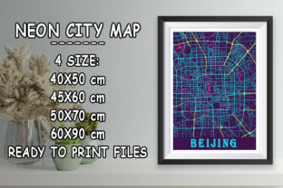 Print on Demand: Beijing - China Neon City Map Graphic Photos By tienstencil
