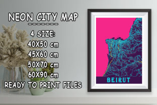 Print on Demand: Beirut - Lebanon Neon City Map Graphic Photos By tienstencil