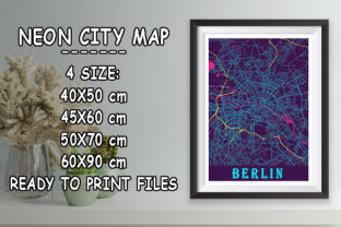 Print on Demand: Berlin - Germary Neon City Map Graphic Photos By tienstencil