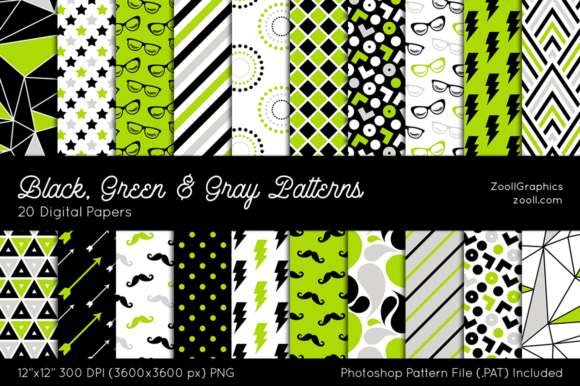 Black, Green & Gray Digital Papers Graphic Patterns By ZoollGraphics