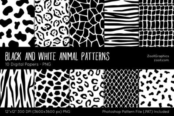 Black and White Animal Digital Papers Graphic Patterns By ZoollGraphics