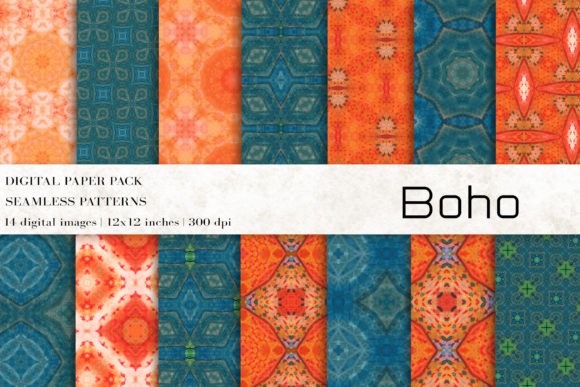 Boho Digital Papers Graphic Patterns By BonaDesigns