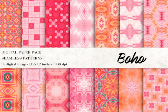 Boho Tribal Digital Papers Graphic Patterns By BonaDesigns