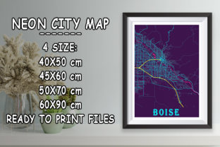 Print on Demand: Boise - United States Neon City Map Graphic Photos By tienstencil