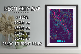 Print on Demand: Bonn - Germany Neon City Map Graphic Photos By tienstencil