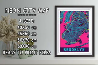 Print on Demand: Brooklyn - United States Neon City Map Graphic Photos By tienstencil