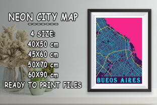 Print on Demand: Bueos Aires - Argentina Neon City Map Graphic Photos By tienstencil