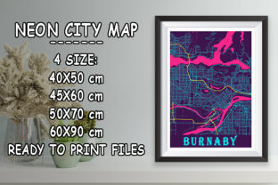 Print on Demand: Burnaby - Canada Neon City Map Graphic Photos By tienstencil